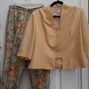 Papell Designer Silk Pantsuit